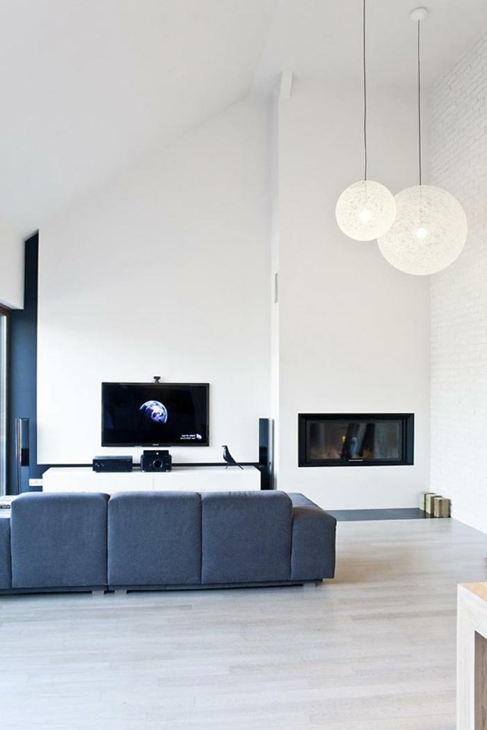 wohnideen wohnzimmerweiß blau moderne innengestaltung