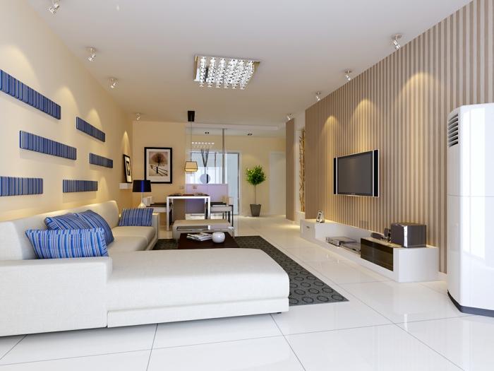 wohnideen wohnzimmer weiße bodenfliesen frische akzente streifen fernseher