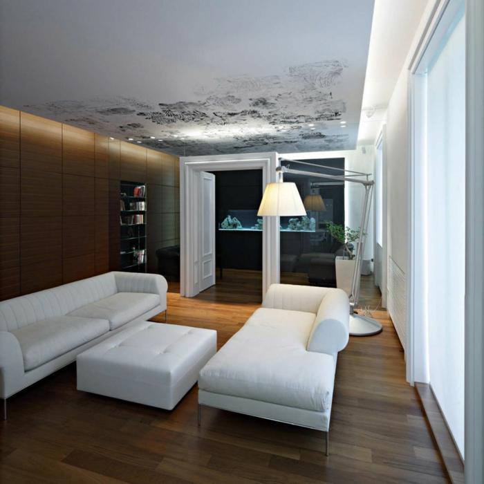 wohnideen wohnzimmer weiße möbel einbauleuchten