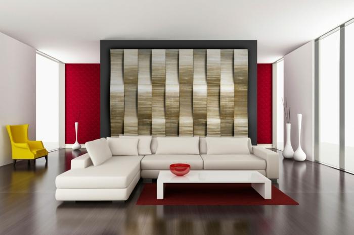 wohntrends metallic akzente wohnzimmer weißes ecksofa roter teppich