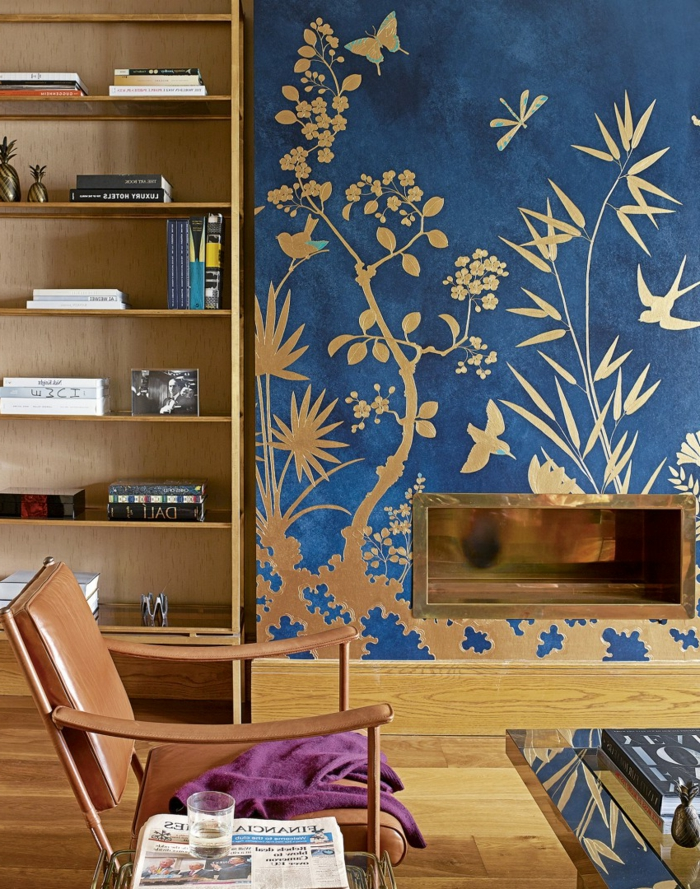 wohntrends wandgestaltung ideen goldene akzente metallic kamin