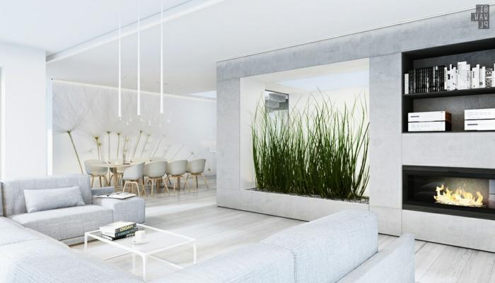 wohntrends wohnideen wohnzimmer pflanzen weißes interieur offener wohnplan