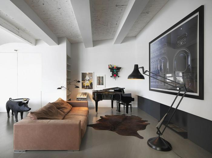wohnideen wohnzimmer fellteppich cooler beistelltisch