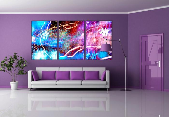 wohntrends wohnzimmer lila dekokissen lila wände pflanze