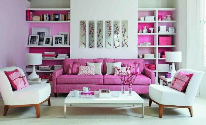 wohntrends wohnzimmer rosanuancen blumen weißer teppichboden