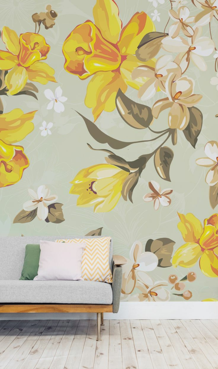 wohnung dekorieren dekoideen wohnzimmer dekokissen wandtapete holzboden