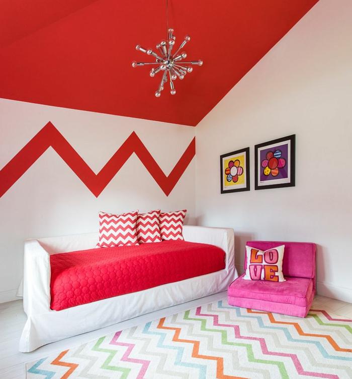 wohnung dekorieren kinderzimmer coole wandgestaltung teppichmuster rote akzente