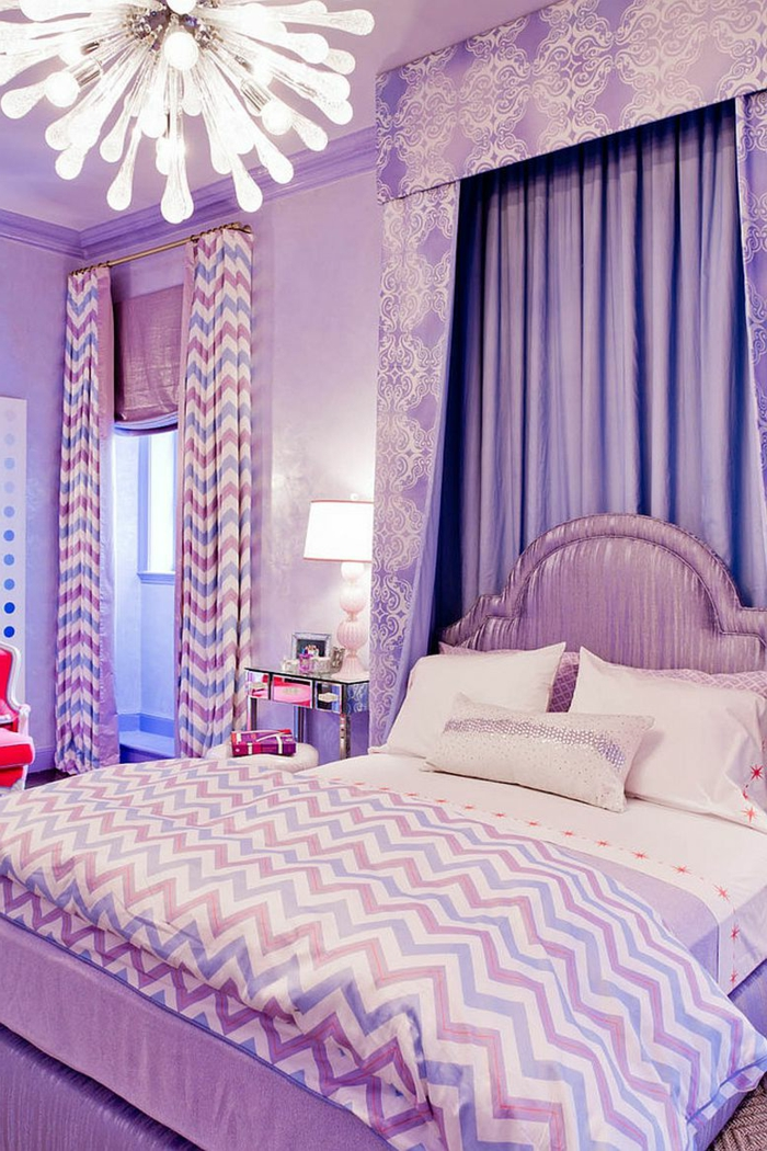 wohnung dekorieren schlafzimmer zig zagmuster lila akzente