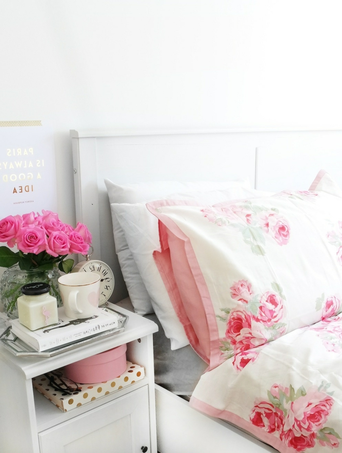 wohnung dekorieren schlafzimmer dekoideen blumenmuster