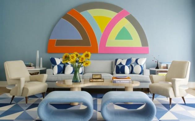 wohnung-dekorieren-wohnideen-wohnzimmer-retro-muster-hellblaue-hocker-wanddeko