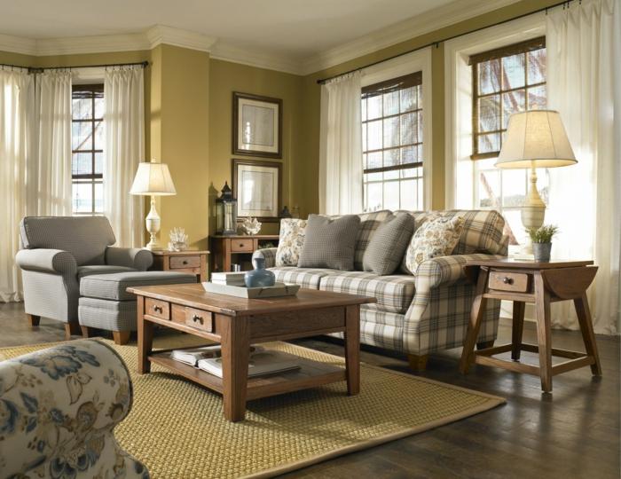 wohnung dekorieren wohnideen wohnzimmer sofa kariert sisalteppich gelbe wände