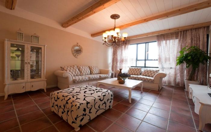 wohnung dekorieren wohnzimmer dekoideen muster kombinieren bodenfliesen topfpflanze