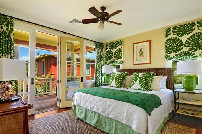 wohnung einrichten ideen schlafzimmer florale muster grün