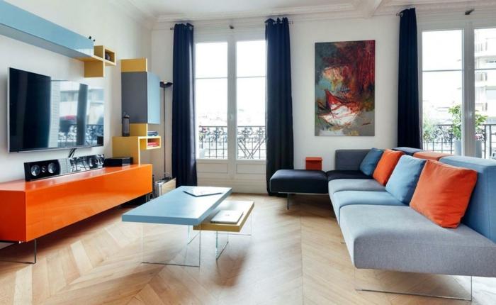 wohnzimmer blau orange:wohnung einrichten ideen wohnzimmer blaunuancen möbel orange akzente ~ wohnzimmer blau orange