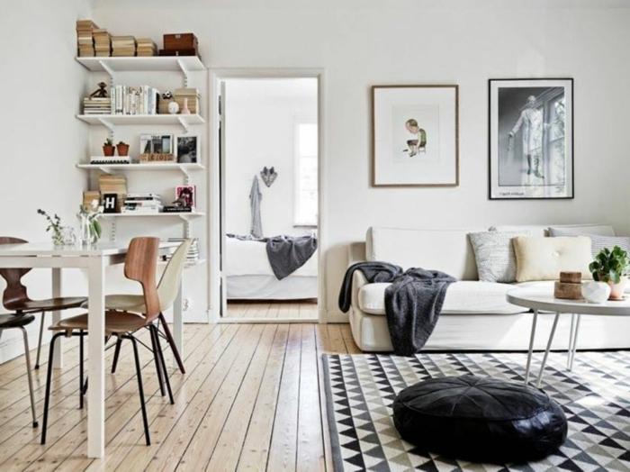 wohnung einrichten ideen wohnzimmer geometrischer teppich offener wohnplan