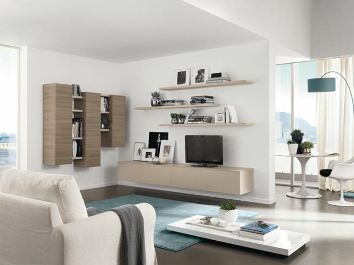 wohnzimmer einrichten beispiele blauer teppich stauraum ideen