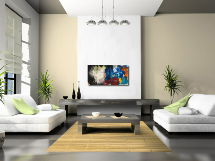 wohnzimmer einrichten beispiele weiße sessel beige wände