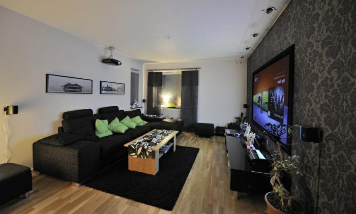Wohnzimmer Einrichten Beispiele Dunkle Mbel Wandtapete Pflanzen