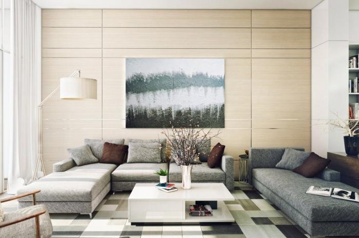 wohnzimmer einrichten beispiele funktionaler couchtisch teppichmuster