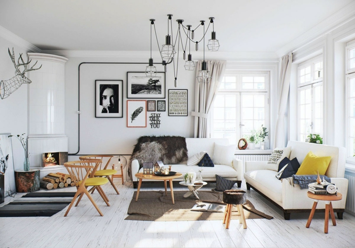 wohnzimmer einrichten beispiele gelbe akzente weiße wände feuerstelle