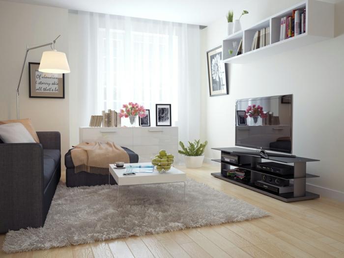 wohnzimmer einrichten beispiele kleines wohnzimmer wandregal pflanzen helle wände