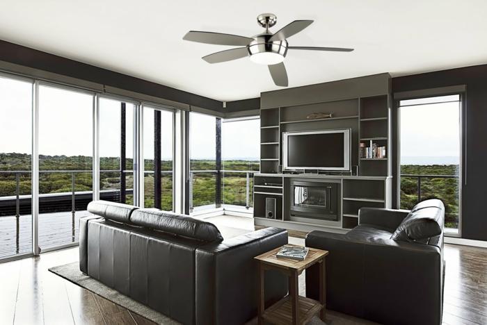 wohnzimmer einrichten beispiele ledermöbel schwarz wohnwand panoramafenster