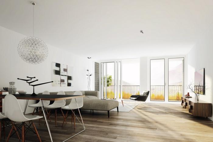 Wohnzimmer Einrichten Beispiele Offener Wohnplan Ecksofa Essbereich