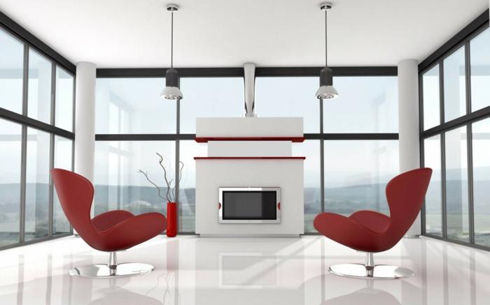 wohnzimmer einrichten beispiele rote sessel weißer bodenbelag moderne feuerstelle
