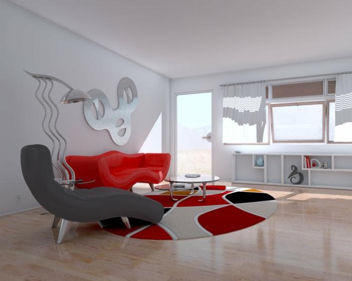 wohnzimmer einrichten beispiele rotes sofa grauer sessel runder teppich