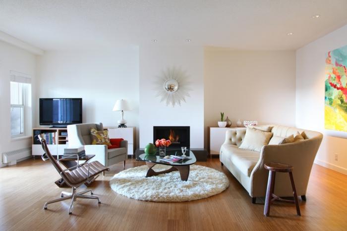 Wohnzimmer Einrichten Beispiele Runder Teppich Moderne Feuerstelle