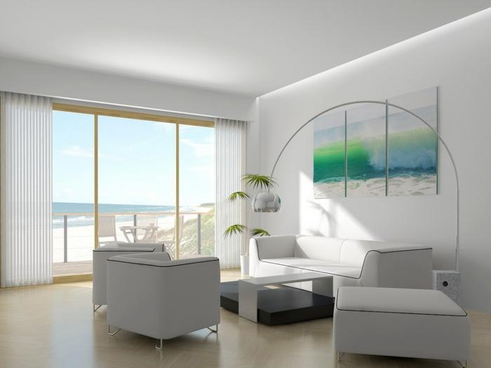 wohnzimmer einrichten beispiele weiße möbel helles ambiente wanddeko pflanzen