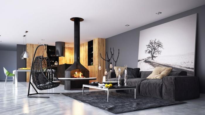 wohnzimmer einrichten beispiele wohnbereich küche farbkontrast