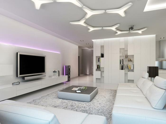 wohnzimmer einrichten ideen cooler couchtisch weiße möbel led beleuchtung