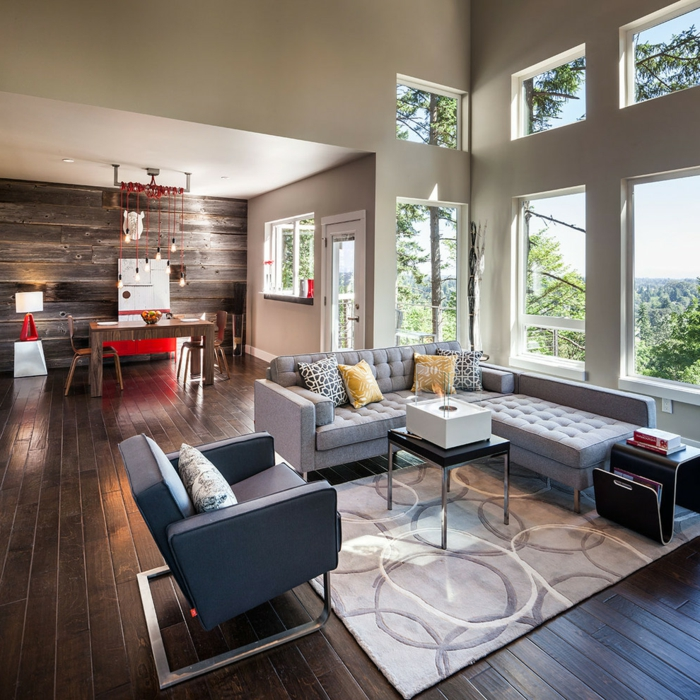 wohnzimmer einrichten ideen eleganter teppich graue möbel essbereich