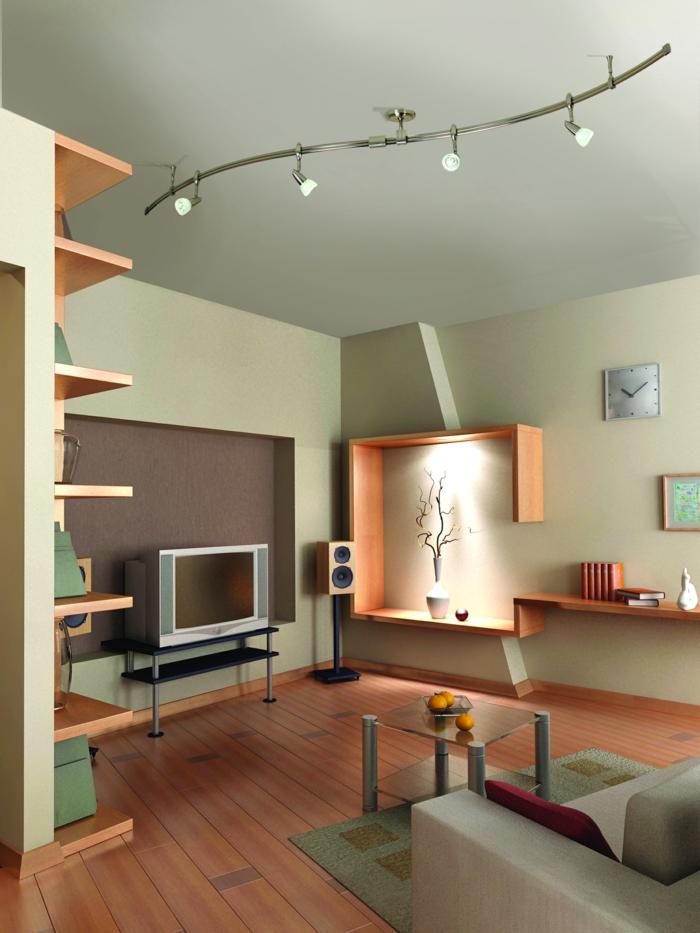 wohnzimmer einrichten beispiele kleiner raum deckenleuchten coole wandregale