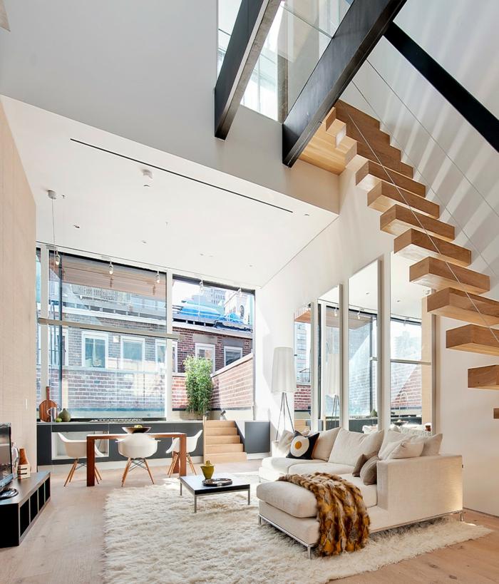 wohnzimmer einrichten ideen helle möbel innentreppen weißer teppich