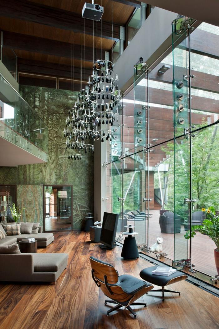Wohnzimmer Einrichten Ideen Holztextur Bodenbelag Relaxsessel