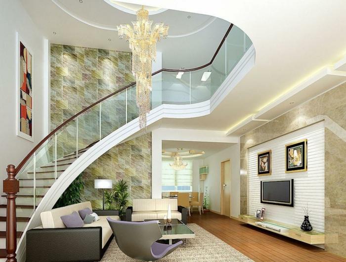 wohnzimmer einrichten ideen innentreppen helles ambiente fernseher