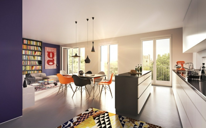 wohnzimmer einrichten ideen lila wände essbereich küche farbig