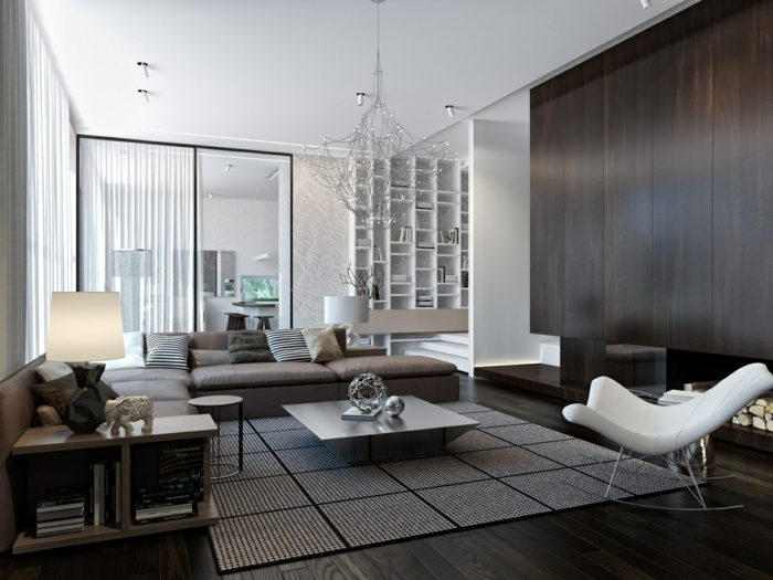 wohnzimmer einrichten ideen neutrale farbtöne cooler couchtisch schaukelstuhl