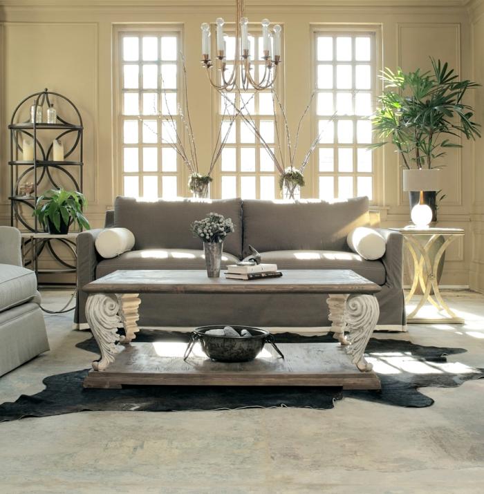 wohnzimmer einrichten ideen pflanzen fellteppich helle wände