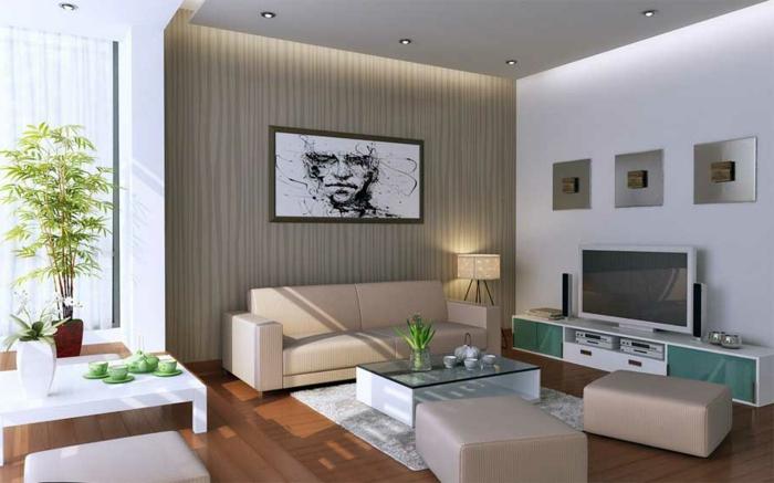 wohnzimmer einrichten ideen schicke möbel glastisch pflanzen
