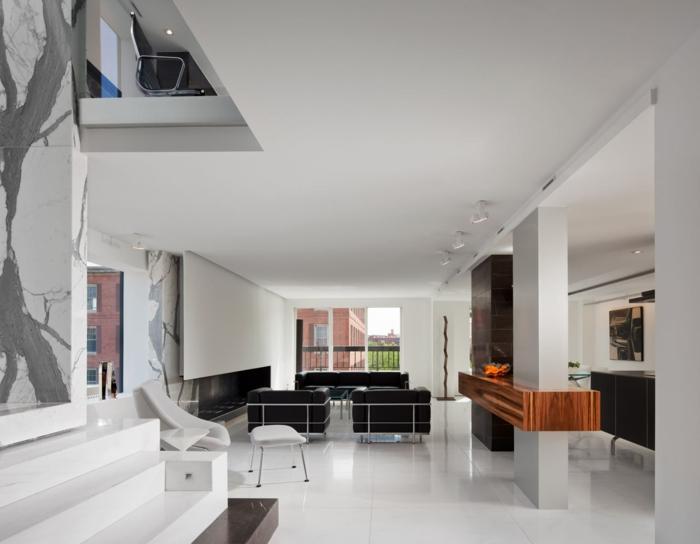 wohnzimmer einrichten ideen schwarze möbel weiße wandfarbe deckenbeleuchtung