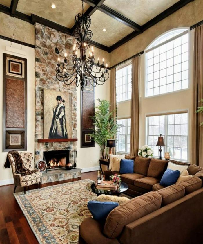 Wohnzimmer Einrichten Ideen Steinwand Akzentwand Kamin Muster Pflanzen