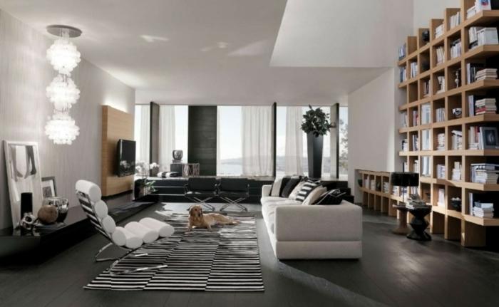 Wohnzimmer Einrichten Ideen Streifenteppich Coole Leuchte Stauraum