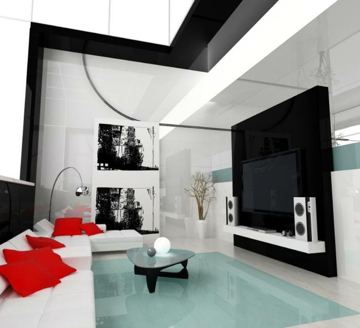 wohnzimmer einrichten ideen weißes ecksofa rote dekokissen schwarze elemente