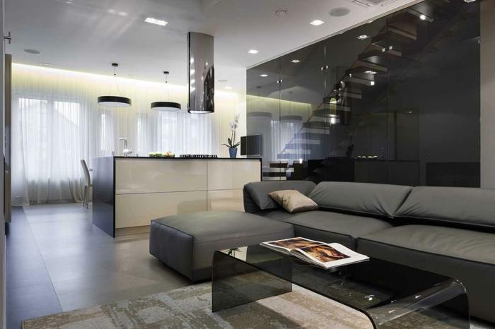 wohnzimmer fliesen bodenfliesen dunkel transparenter couchtisch schickes graues sofa