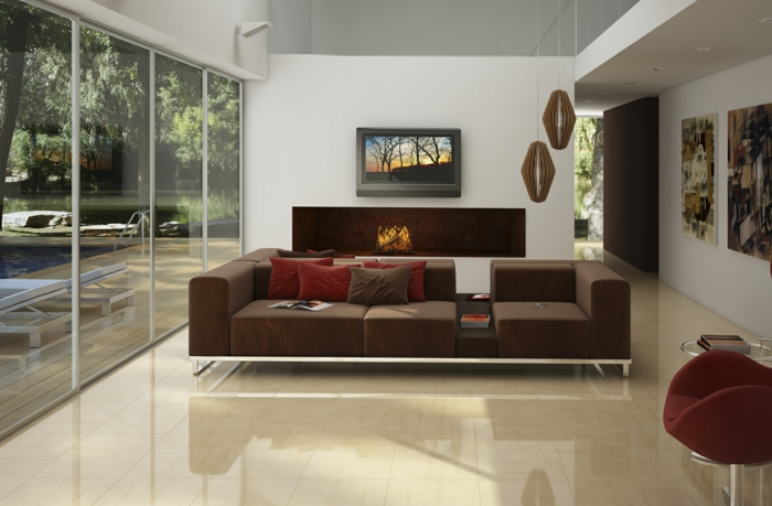 Wohnzimmer Fliesen Creme Farbe Bodenbelag
