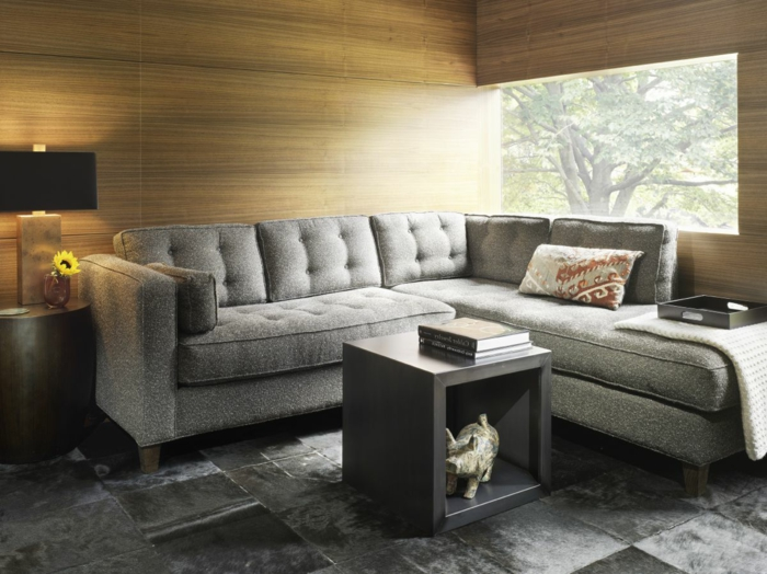 Wohnzimmer Fliesen Graunuancen Stilvolle Textur Graues Ecksofa