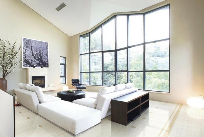 wohnzimmer fliesen helle bodenfliesen luxuriös weiße möbel
